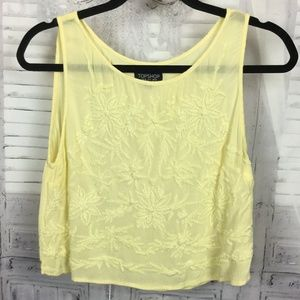 Topshop Sleeveless Crop Yellow Flower Top 6